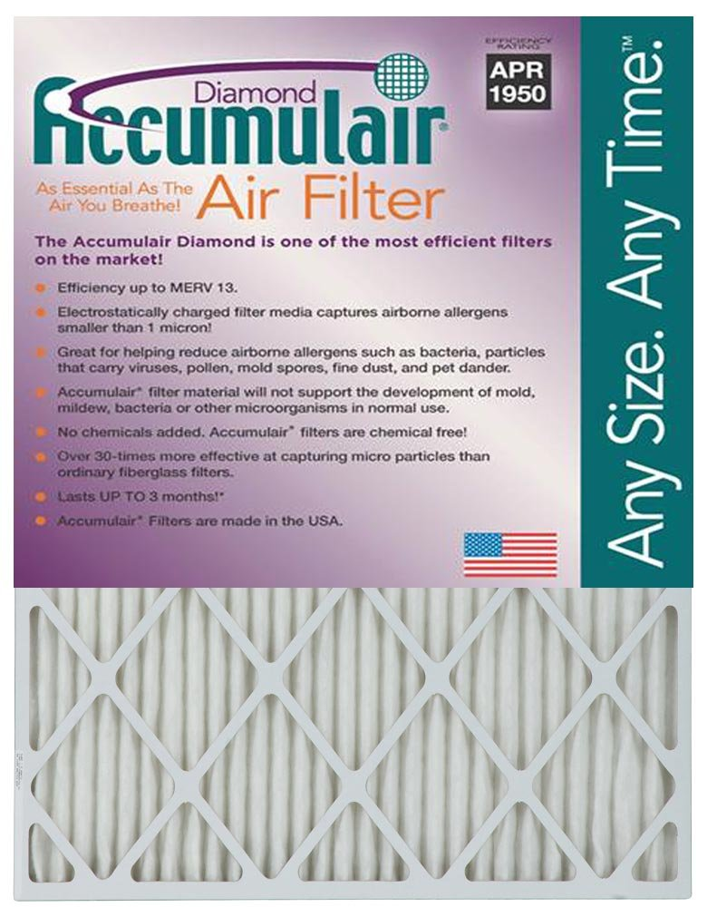 Accumulair Diamond 14x30x1 (13.5x29.5) MERV 13 Air Filter/Furnace Filter (12 Pack)