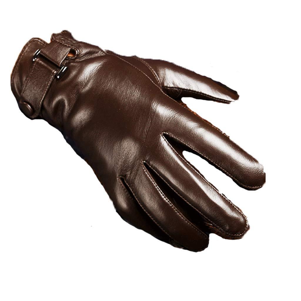 JIJIHAO shoutao Lammfellhandschuhe Herren Winter warm Leder Reiten Fahren dünnen Abschnitt Plus Samt Touch-Screen-Handschuhe schwarz, braun