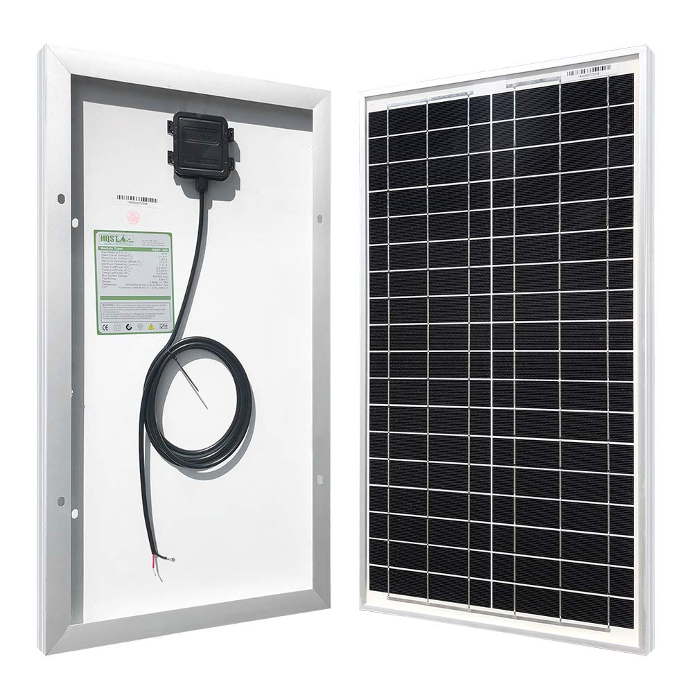 HQST 30 Watts 12 Volts Monocrystalline Solar Panel for DC 12V Battery Charging and Any Other Off Grid Applications (30Watt)
