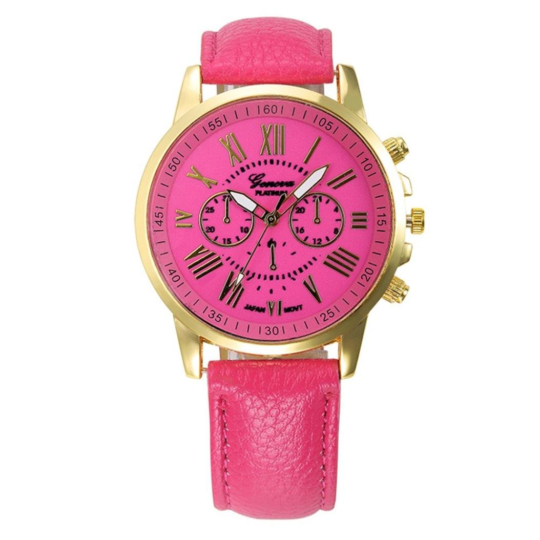 Pocciol Watch, Women Love Roman Numerals Leather Faux Leather Analog Quartz Wrist Watch Clock (Hot Pink) by Pocciol (Image #1)