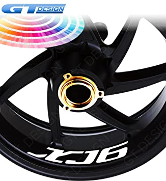 GT-Design XJ6 - Lote de 4 pegatinas para llantas de moto Yamaha FZ6, bicolor: Amazon.es: Coche y moto