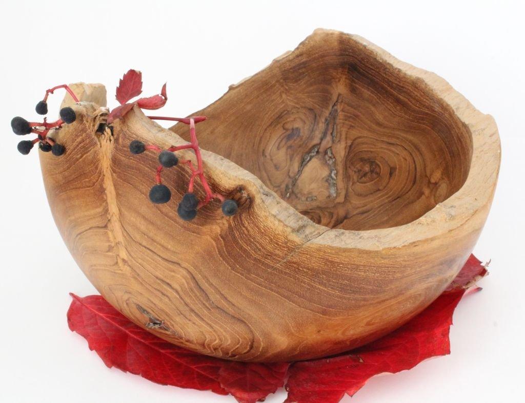 Windalf Hobbit Salatschale N/ÁMIA 20 cm Elfen Mittelalter-Schale Obstschale Handarbeit aus Wurzelholz