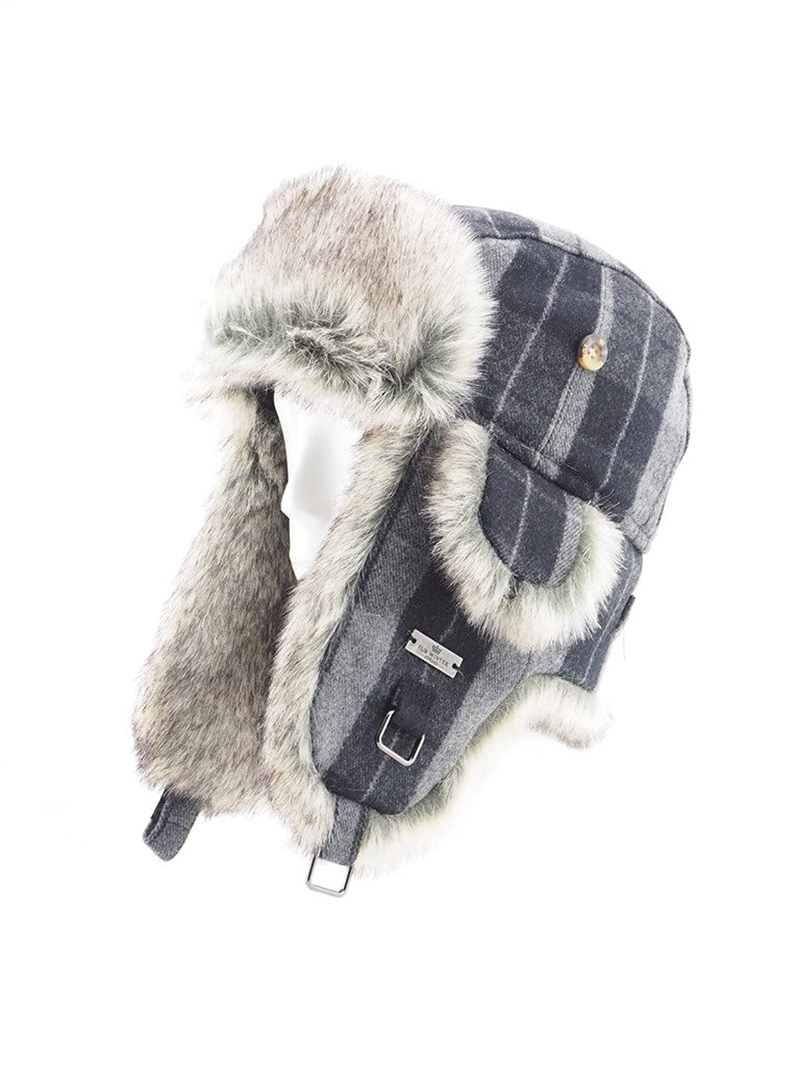 Fell Winter Wolle-Mischgewebe Buffalo Check Kunstfell Aviator Bomber Trapper Trooper Pilot Ski Hat