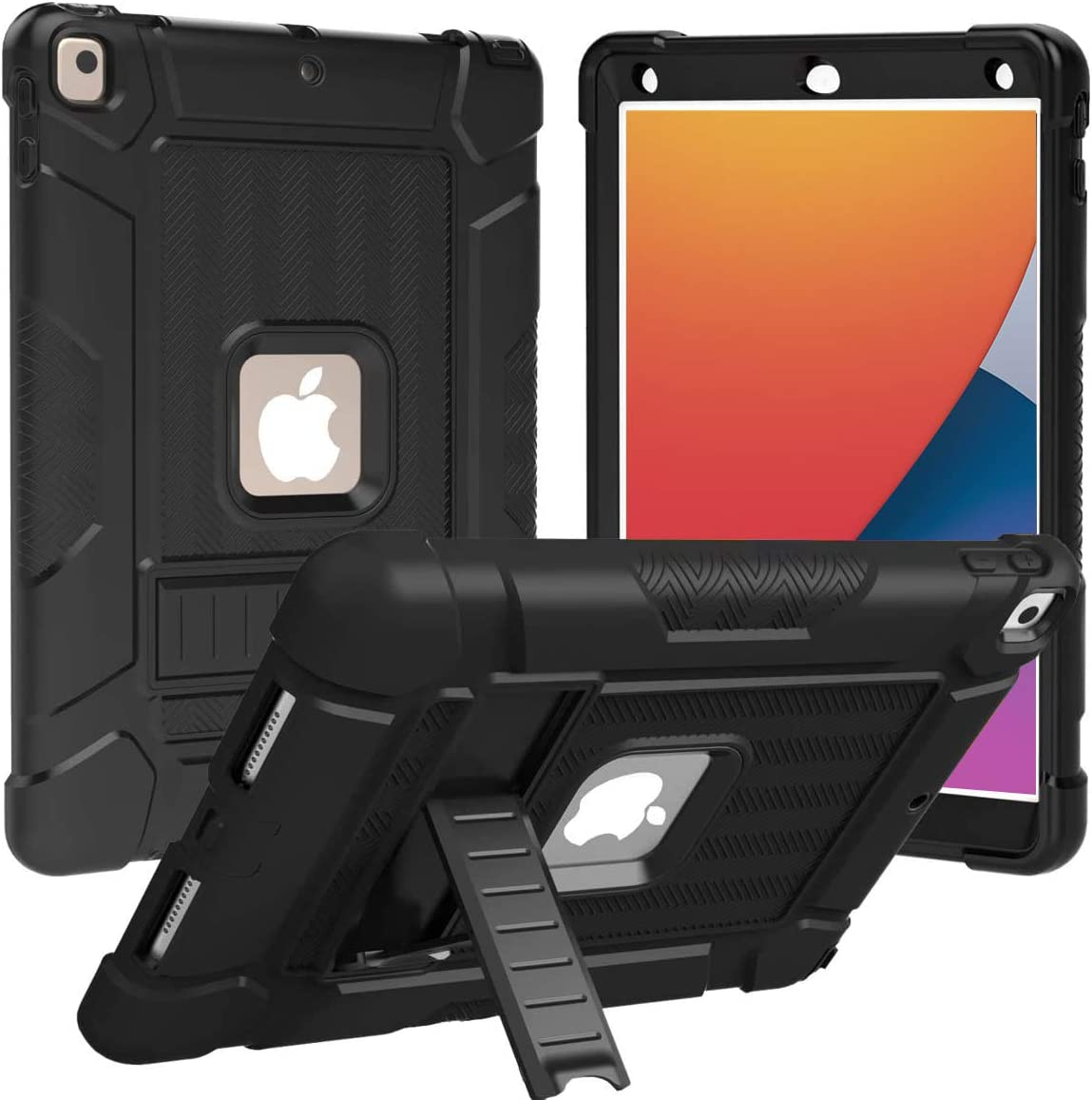 BMOUO Case for iPad 10.2 2020/2019, iPad 8th/7th Generation Case, Shockproof Heavy Duty Rugged Protective Slim Case with Kickstand for iPad 8th/7th Gen 10.2 inch 2020 - Black and Black