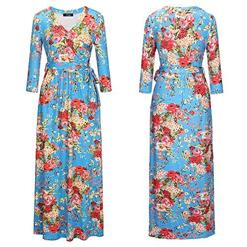 Femeninos Mujer JIALELE Vestido De Vestidos De Fiesta Fiesta Cintura Mujer Largo V Blue Vestido Color Collar Para ErnqOxwr1