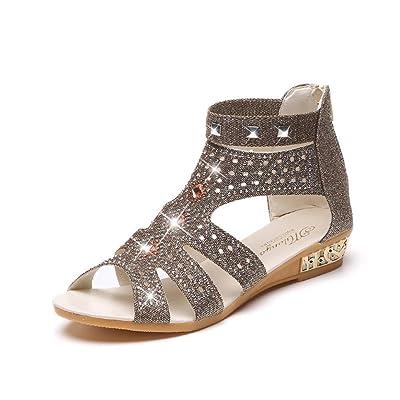Amlaiworld Sandales Femmes, Été Strass Sandales Wedge Femmes Mode Sandales Bouche de Poisson Chaussures Creuses Chaussures Roma