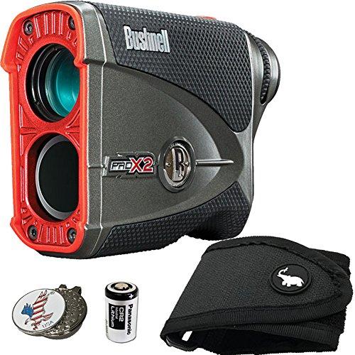 Bushnell BUNDLE Pro X2 Golf Laser Rangefinder + 1 STICKIT Magnetic Golf Rangefinder Cart Mount (Black) + 1 Custom Ball Marker Hat Clip Set (American Eagle)