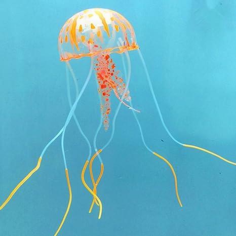 Yiwa Pretty - Trompeta Fluorescente Colorida Simulación de Medusas Luminosas de Silicona para Acuario, Acuario