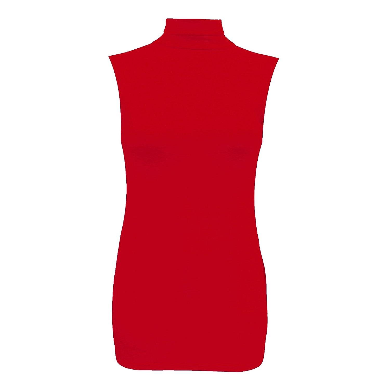 45084313d0 Body2Body Ladies Brand New Plain Polo Neck Womens Sleeveless Stretch Turtle  Jersey Basic Tops Size UK 10-24
