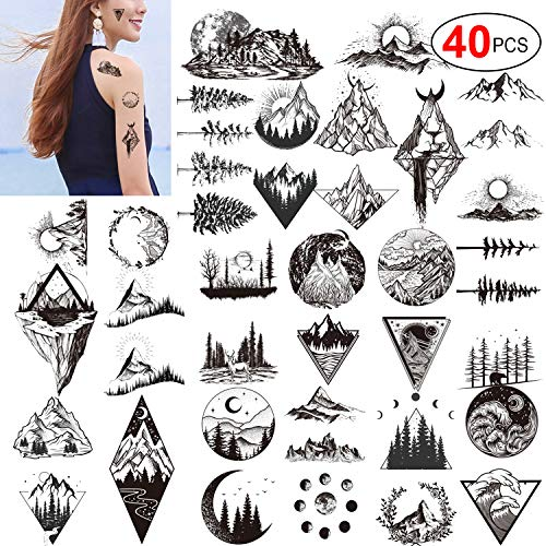 Konsait 20 Sheets Black Temporary Tattoos for Adults Men Women Kids, Triangle Mountain Moon Sun Tree Deer Birds Waterproof Body Art Fake Arm Tattoo Sticker Hand Neck Wrist Fashion