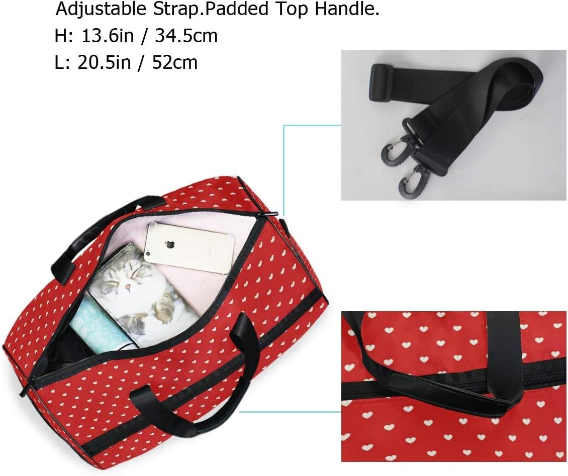 FAJRO Duffle Bag for Women Men Red Heart Shape Travel Duffel Bag Large Size Water-proof Tear Resistant