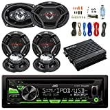 "JVC CD/MP3/WMA Receiver Bundle Combo With 2x CSDR6930 6x9"" 3-Way Stereo Coaxial Speakers, 4x CSDR620 6.5"" 2-Way Audio Speaker, Enrock 400w 4-Chan Bluetooth Amplifier w/ Installation Kit"