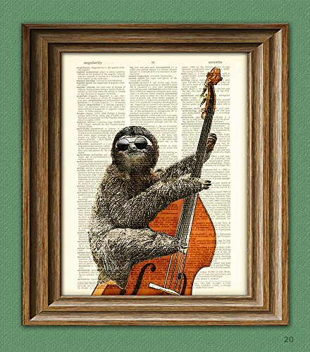 Jimmy-Slothton-is-in-the-pocket-Bass-Playing-Sloth-dictionary-page-book-art-print