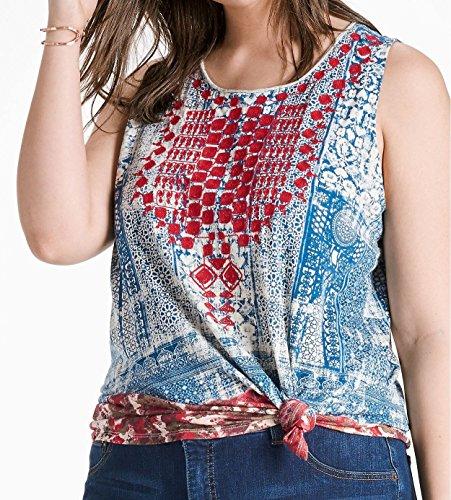 Lucky Brand Women's Plus Size Embroidered Bib Tank Top, Blue/Multi, 3X -