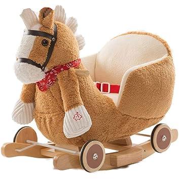 Cavallo A Dondolo Con Ruote.Bakaji Cavallo A Dondolo In Legno Struttura Basculante Con Ruote