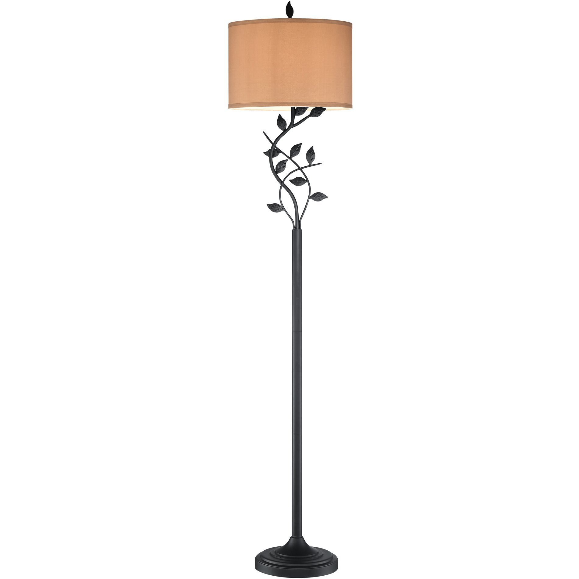 Revel Ambrose 58'' Matte Black Floor Lamp + 10.5W LED Bulb, Energy Efficient, Eco-Friendly, Intricate Leafs Design, Gold Bronze Iridescent Shade