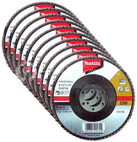 Makita 10 Pack - 80 Grit Flap Disc For Grinders - Balanced Conditioning For Metal, Stainless Steel & Non-Ferrous - 4-1/2'' x 7/8-Inch | Z80 Angled