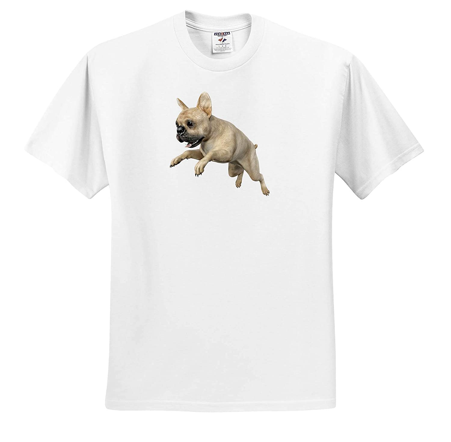 T-Shirts 3dRose Boehm Graphics Dog Frenchie Bulldog Beige Leaping Right