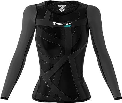Fitness Sportoberteile Longsleeve Laufshirt Yoga Gym Sport Langarmshirt Compression Shirt SMMASH X-WEAR VITRAGE Damen Langarm Top Funktionsshirt f/ür Crossfit