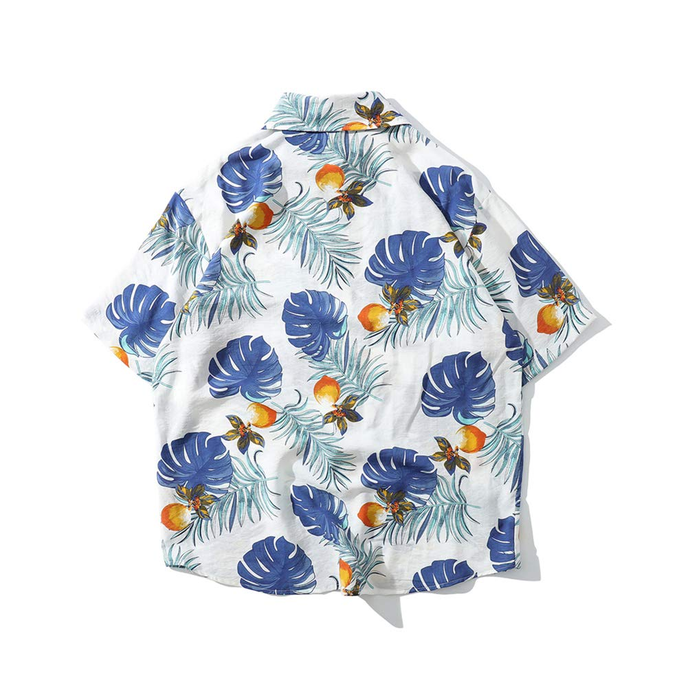 Mens Summer Hawaiian Shirt Fashion Loose Comfortable Beach Casual Top