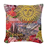CafePress - Spain Vintage Trendy Spain Travel Collage Woven Th - Woven Throw Pillow, Decorative Accent Pillow
