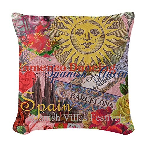 CafePress - Spain Vintage Trendy Spain Travel Collage Woven Th - Woven Throw Pillow, Decorative Accent Pillow by CafePress