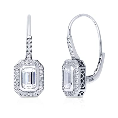 BERRICLE Rhodium Plated Sterling Silver Cubic Zirconia CZ Leverback Dangle Drop Earrings cE7yNe
