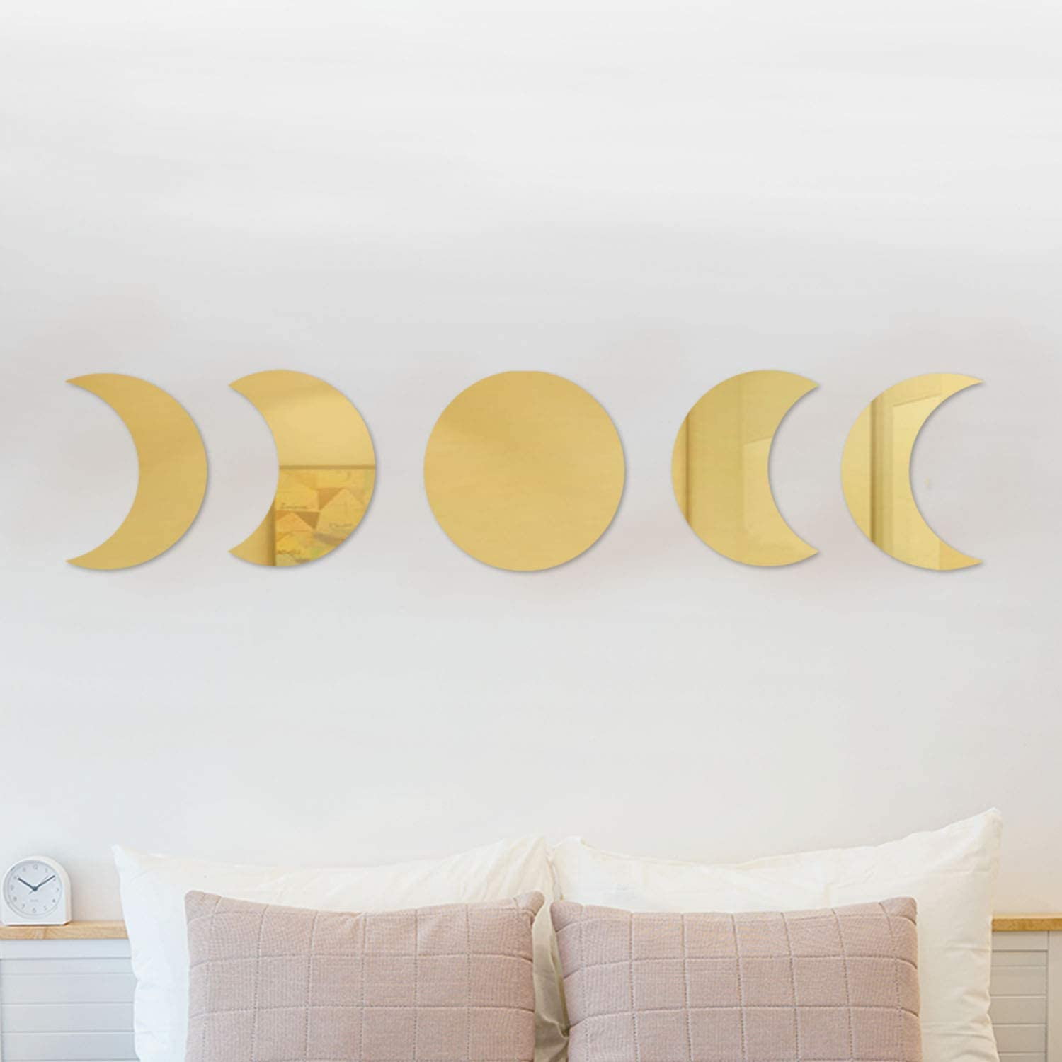 RTMISA Moon Phases Wall Decor Boho Wall Mirror Stickers Art Decorations for Nursery Living Room Bedroom Lobby Home Office - Gold