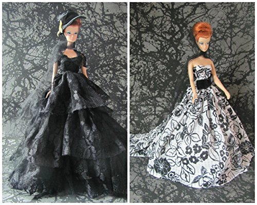 Hello Horror Barbie Doll Clothes Dress: 2 Halloween Haunted Dresses with Hat Fit 11.5 Inch Barbie Dolls]()
