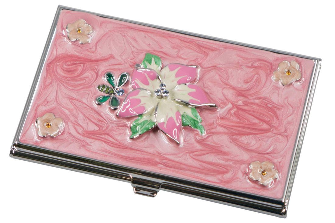 Visol Tanisha Pink Flower with Crystals Women's Business Card Case (Set of 6)