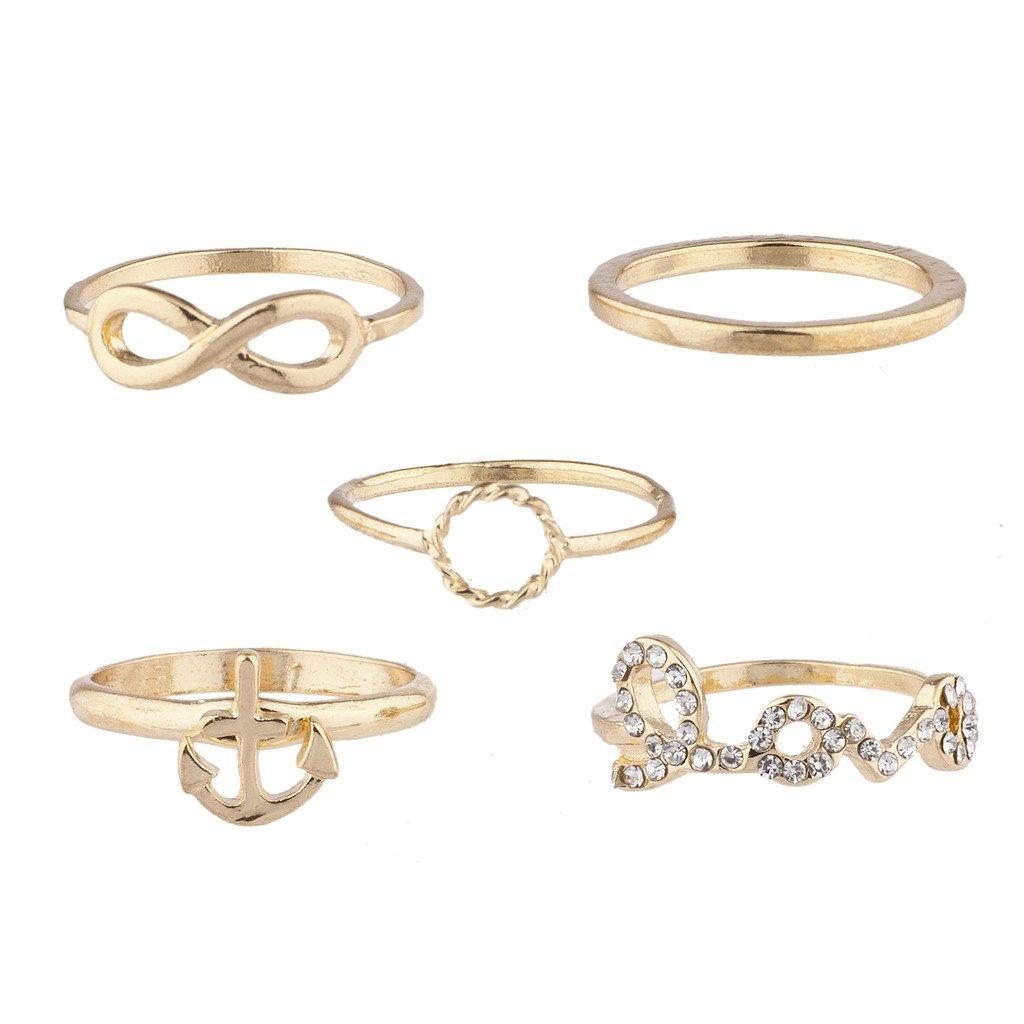 Lux Accessories dorato Love infinity Anchor Nautical novità anello set 5PC R150946-4-R290