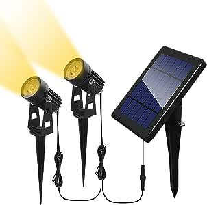 Otdair Solar Spotlights Outdoor, Led Solar Powered Landscape Lights 2 in 1 Bright Warm White Lights IP65 Waterproof Adjustable Head Light for Path Garden Yard Patio Lawn