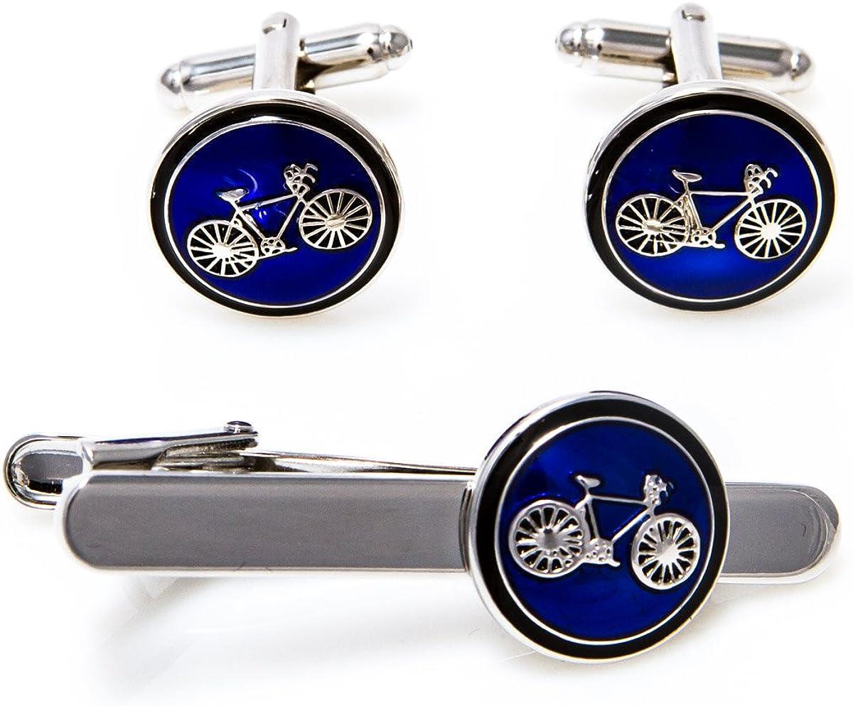 MRCUFF Bike Bicycle Cycling Cyclists Cufflinks & Tie Bar in a Presentation Gift Box & Polishing Cloth
