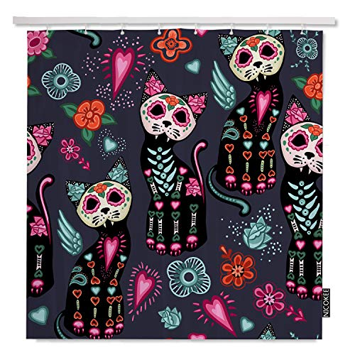 NICOKEE Cat Jpg Day of The Dead and Halloween Shower Curtains Home Decorative Waterproof Polyester Fabric Hooks -