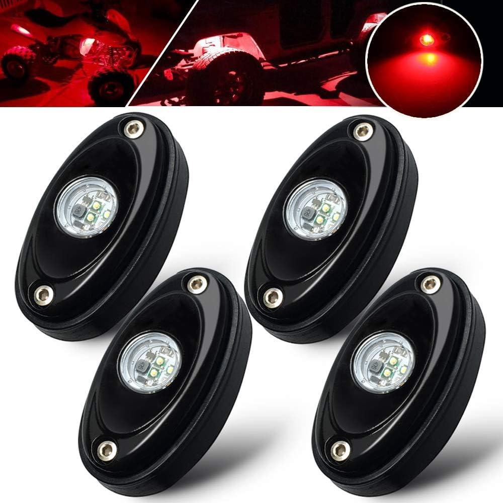 4 Pcs Led Rock Lights Under Body Lights Compatible for Jeep Trucks ATV SUV Bluetooth Control,4pods