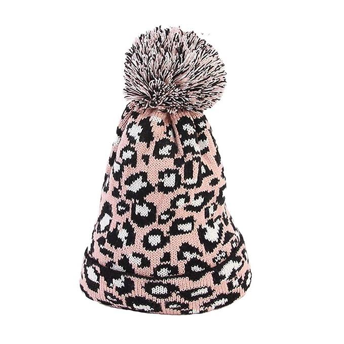 Amazon.com  Allywit Women Leopard Faux Fur Ball Winter Warm Crochet Knitted  Hat Cap Beanie  Clothing 8a2282216f14