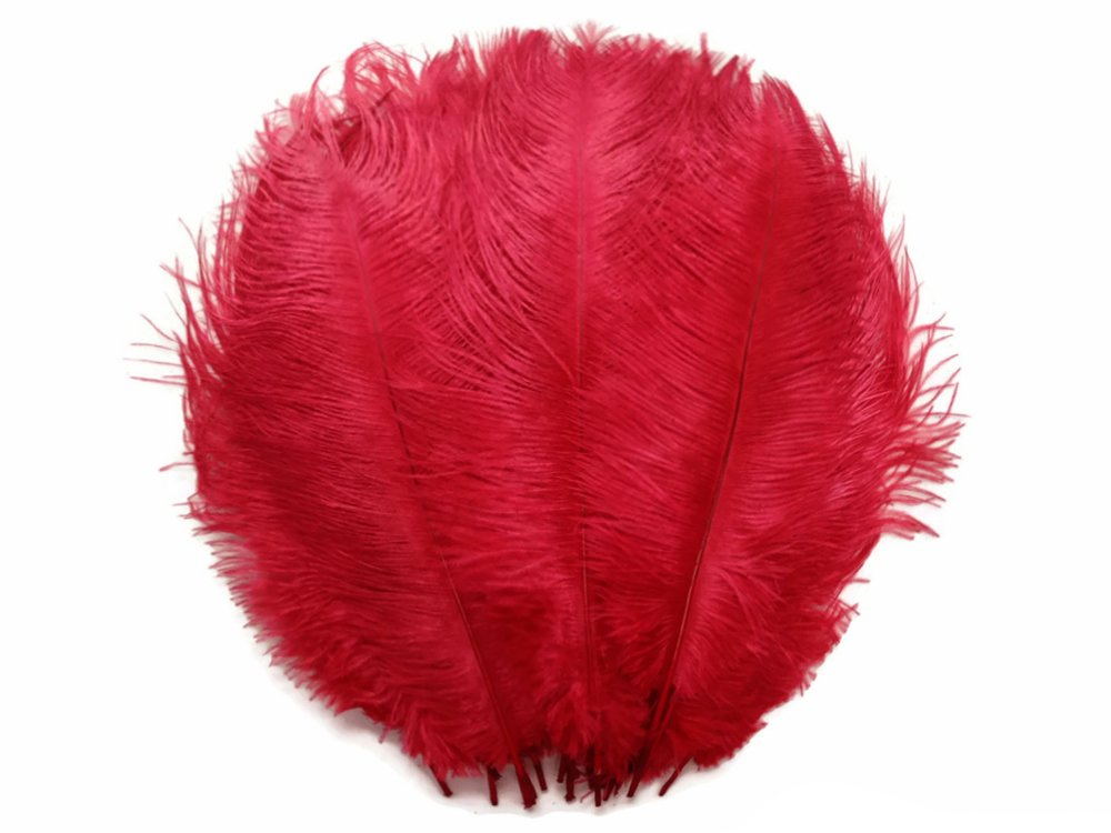 Ostrich Feathers , 1/2 lb - 14-17'' RED Large Ostrich Drab Body Wholesale Feathers (bulk)