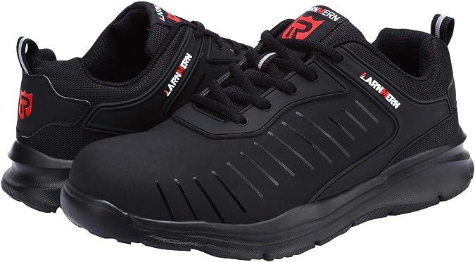 LARNMERN Zapatos de Seguridad Hombre Mujer,SRC Anti Deslizante Anti aplastante Raya Reflectante Transpirable Zapatillas de Seguridad