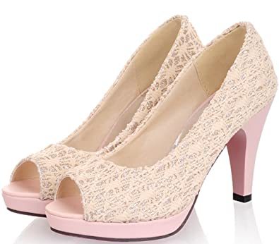 ca808676792 KingRover Women s High Heel Peep Toe Slip On Evening Prom Wedding Bridal  Pumps Shoes Beige