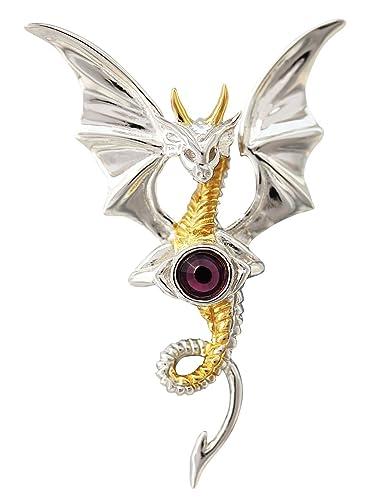 Himmlischer Drache - Für inneren Frieden - Anne Stokes Mythische Gefährten Amulette - Aus 925er Sterling Silber gefertigt und mit einer 925er Silberkette ausgestattet -