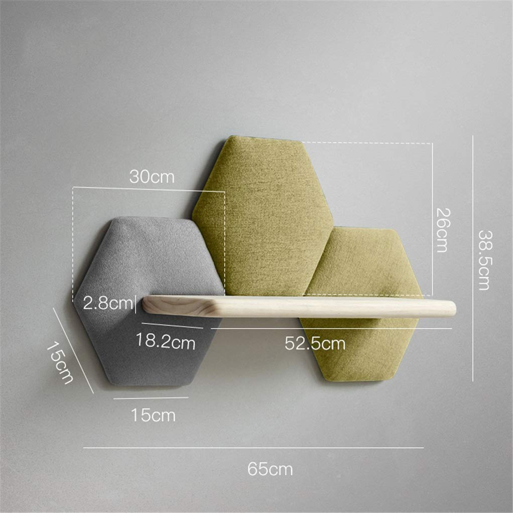 J Yimaojia Creative Personality Cotton and Linen Wall Decorations Wall Hanging Solid Wood Hexagonal Sofa Cotton Rack Coat Hook Shelf (color   J)