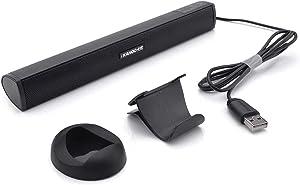 USB Powered Computer Stereo Speaker, Portable Mini Sound Bar for Windows PCs, Desktop Computer, Laptop - Black (Renewed)