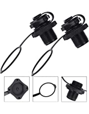BUZIFU 2pcs Air Valve Inflatable Boat Spiral Air Plugs One-way Inflation Replacement Screw Boston Valve for Rubber Dinghy Raft Kayak Pool Boat Airbeds,Black