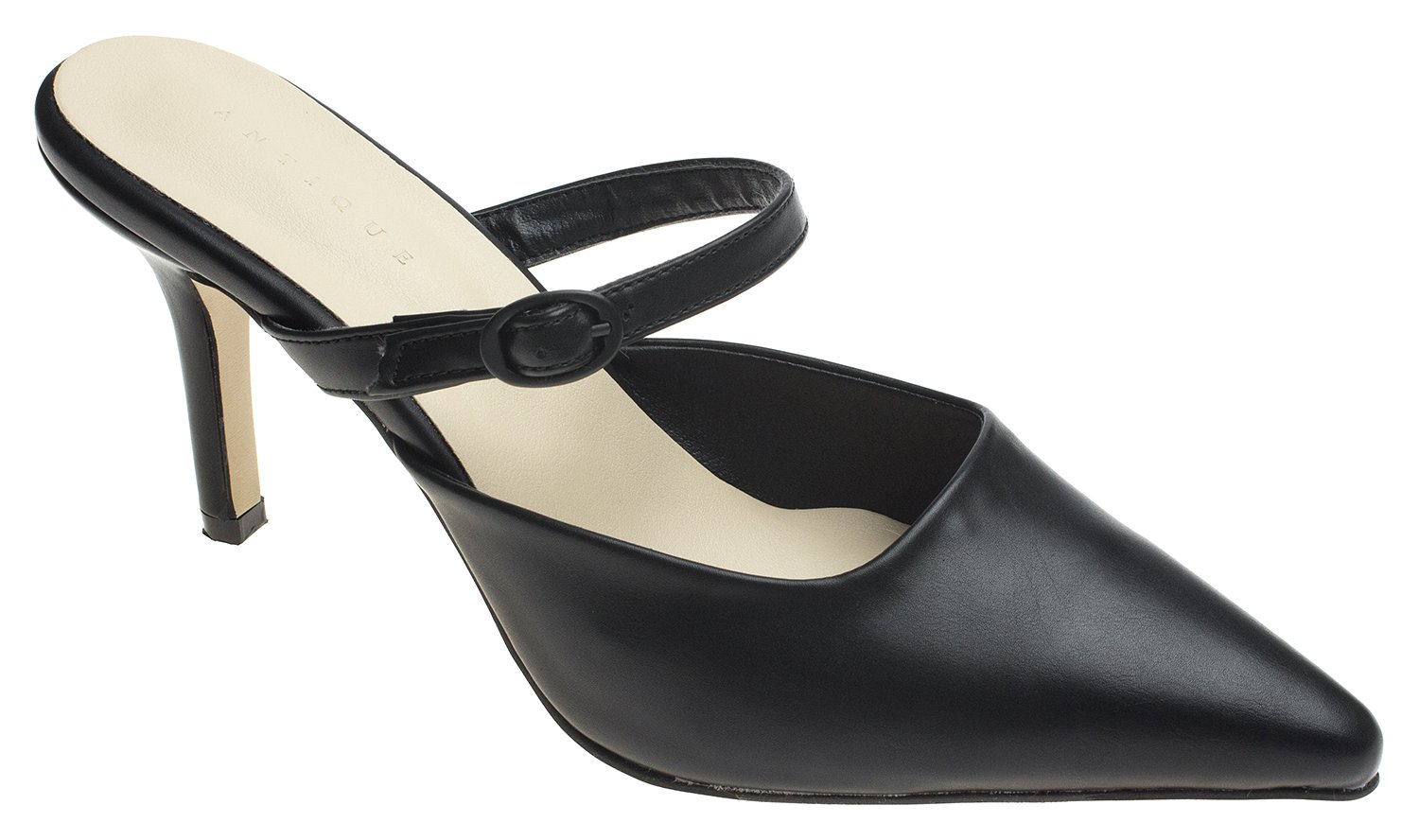 AnnaKastle Womens Pointy Toe Mary Jane Heel Mule B079D5FBC2 7.5 B(M) US|Black