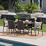 Arya Outdoor 7 Piece Multibrown Wicker Dining Set with Foldable Table and Stacking Chairs