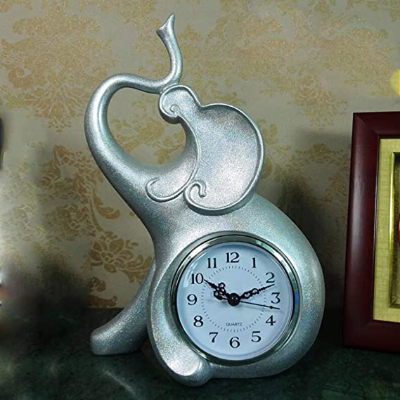 MICOKY Mantel Relojes Plata Adornos Abstractos Reloj de Mesa Mute ...