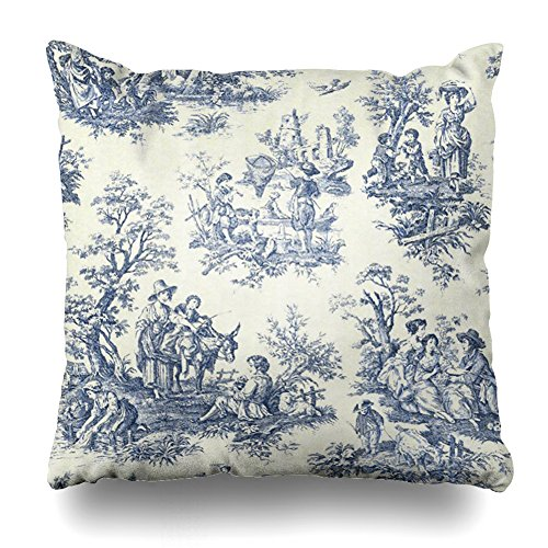 Decorativepillows 16 x 16 inch Throw Pillow Covers,American Asian Reversible Toile Accent Pattern Double-sided Decorative Home Decor Indoor/Outdoor Garden Sofa Bedroom Car Kitchen Nice Gift
