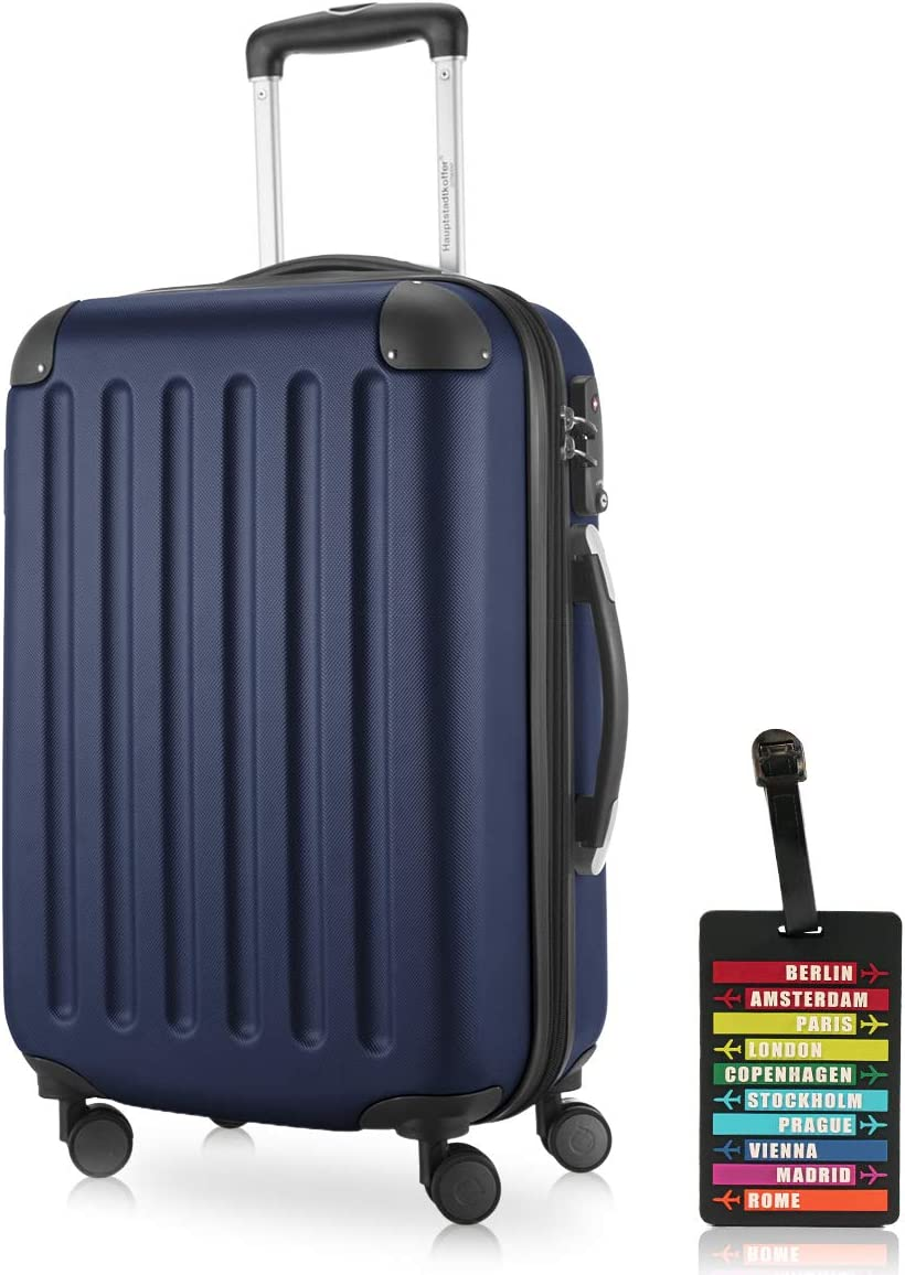 Hauptstadtkoffer - Spree, Carry on Hand Luggage Hard Shell Suitcase Approved for Baggage regulations of All Airlines, TSA, 55 cm, 42 Liter, Dark Blue +Luggage Tag