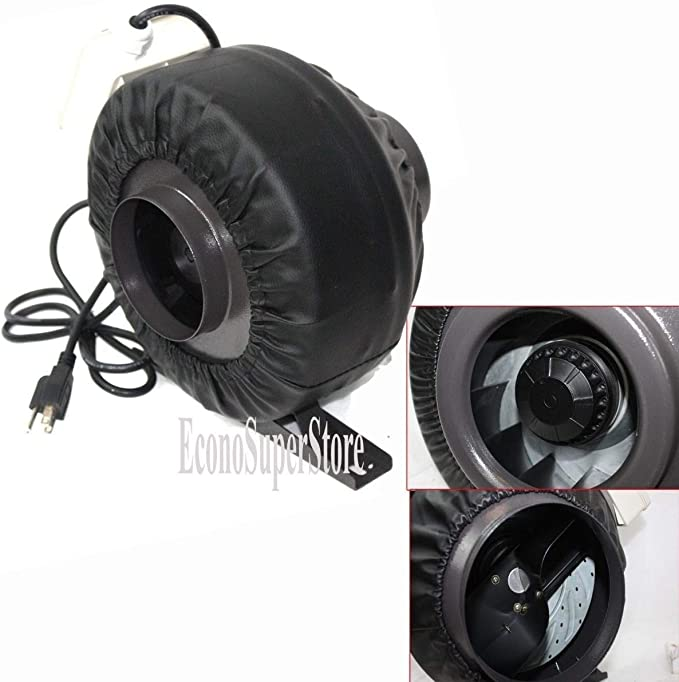 "4/"" Inline 190CFM Hydroponics Duct Tube Exhaust Fan Blower 120V W// Leather Sleeve"