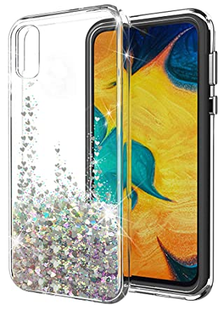 Galaxy A50 Case,SunStory Luxury Fashion Design with Moving Shiny Quicksand Glitter and Double Protection with PC Layer and TPU Bumper Case Designed ...
